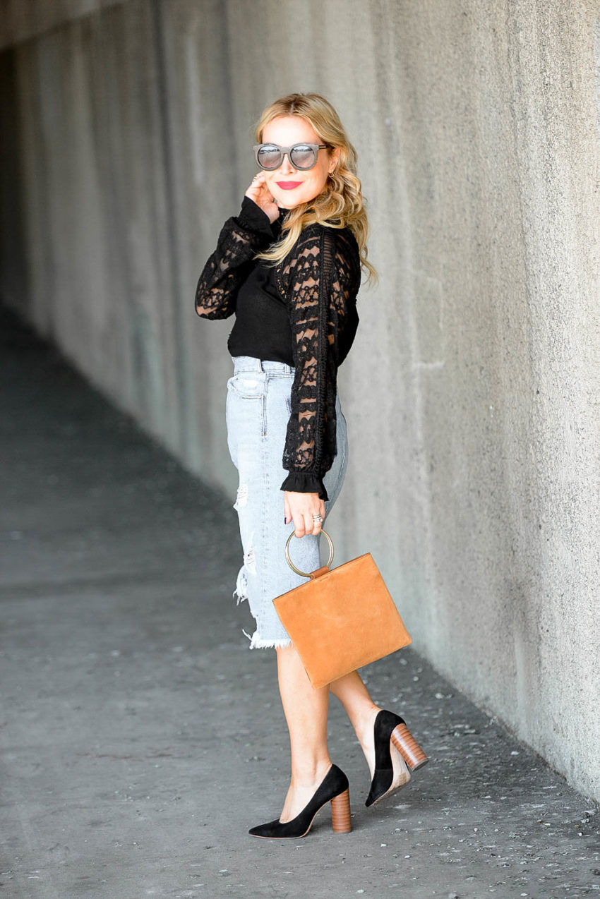 Black Lace, Distressed Denim Skirt.