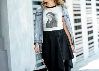Blondie Tee, Black Asymmetrical Skirt.