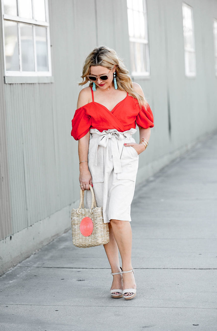 BaubleBar aqua earrings featured by popular Los Angeles fashion blogger, The Hunter Collector