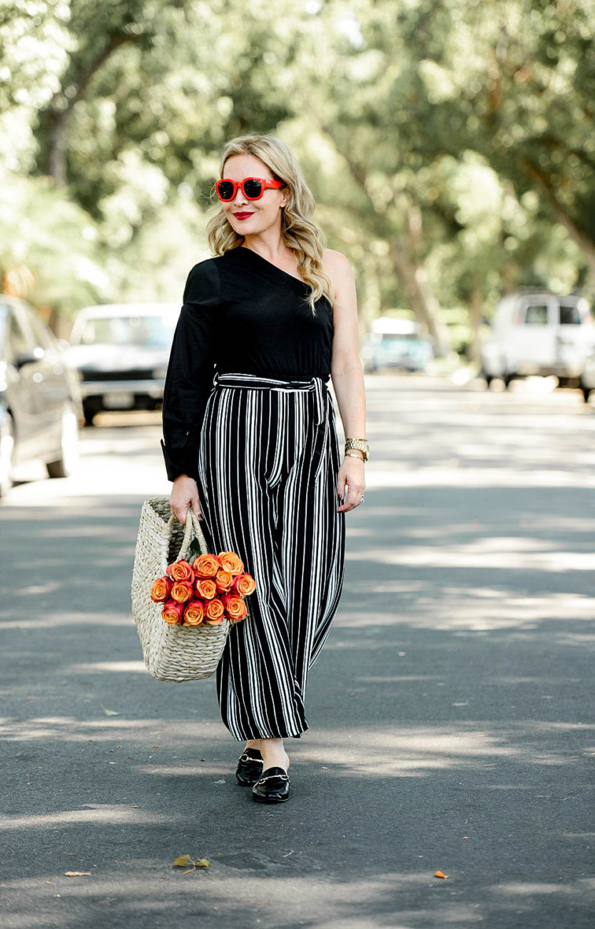 Striped Palazzo Pants, One Shoulder Top.