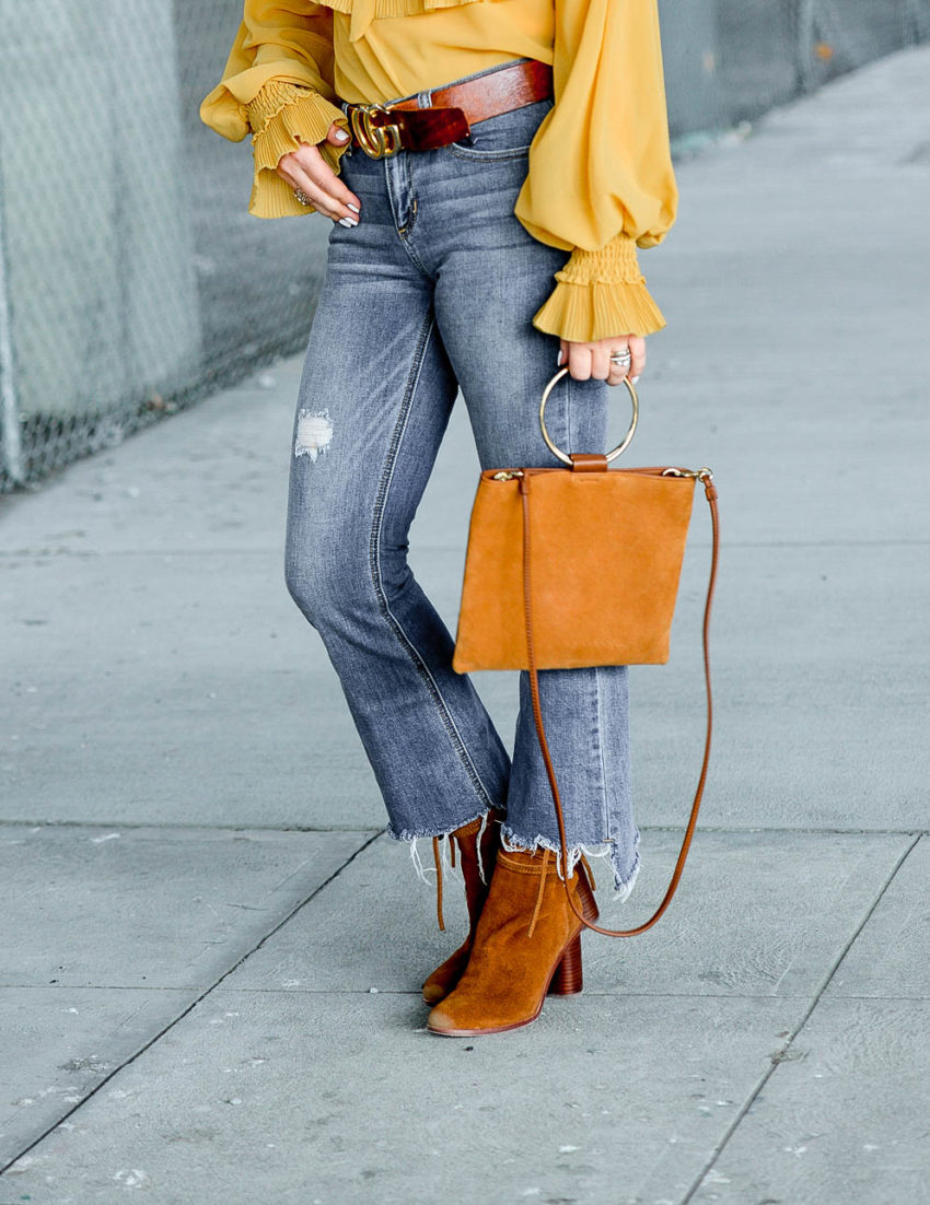 Mustard Blouse Denim Suede The Hunter Collector