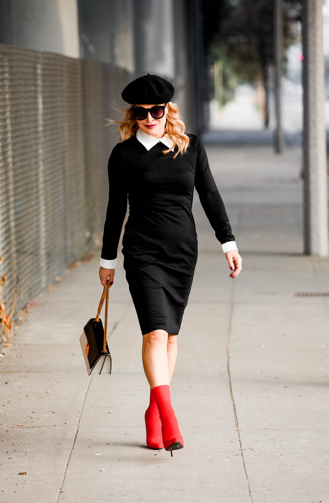 Red Sock Boots, Black & White Dress featured by popular Los Angeles fashion blogger, The Hunter Collector