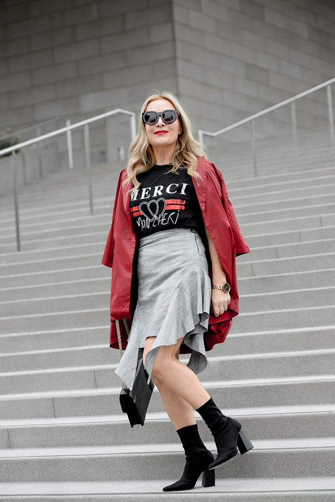 Grey Ruffled Skirt, Red Trench.