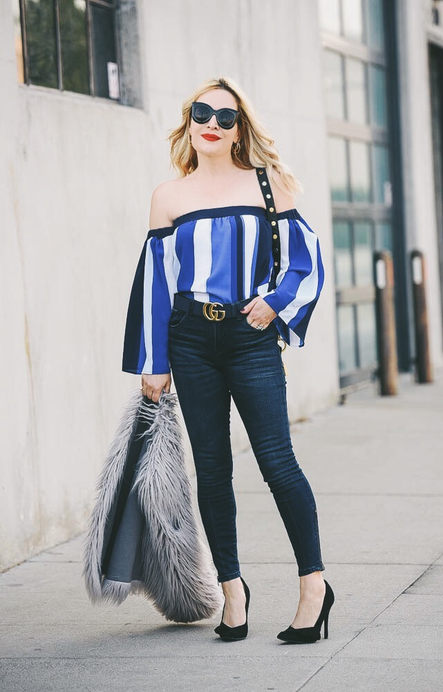 Blue Stripes, Faux Fur.