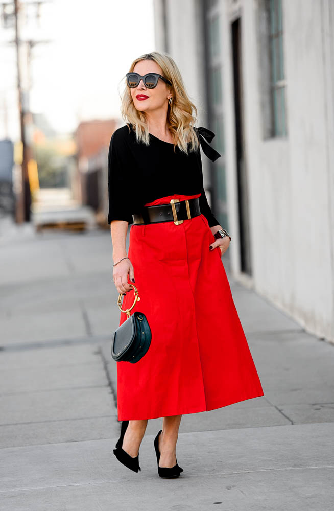 Red Maxi Skirt, Bow Sweater.