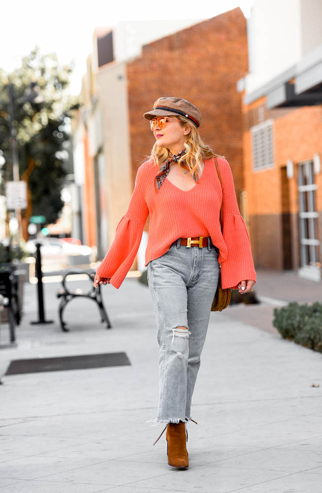 Orange Bell Sleeves, Hermes & Denim.