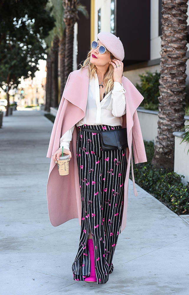 Floral Pants, Pink Beret & a Peek of Lace.