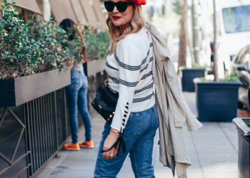 Stripes, Beret, Trench Coat.