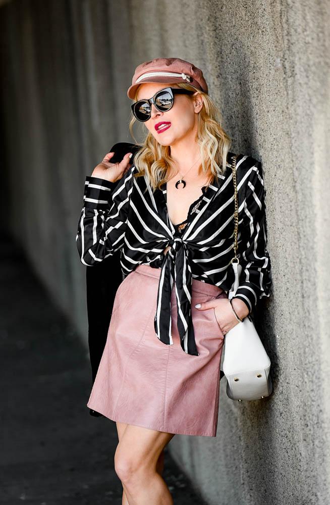 pink vegan leather