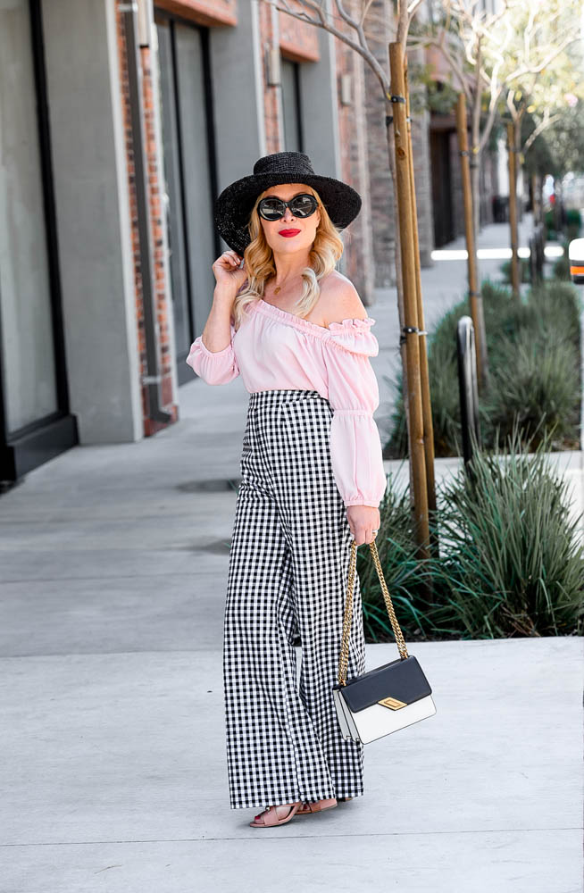 Gingham Pants, Pink Off Shoulder Top.