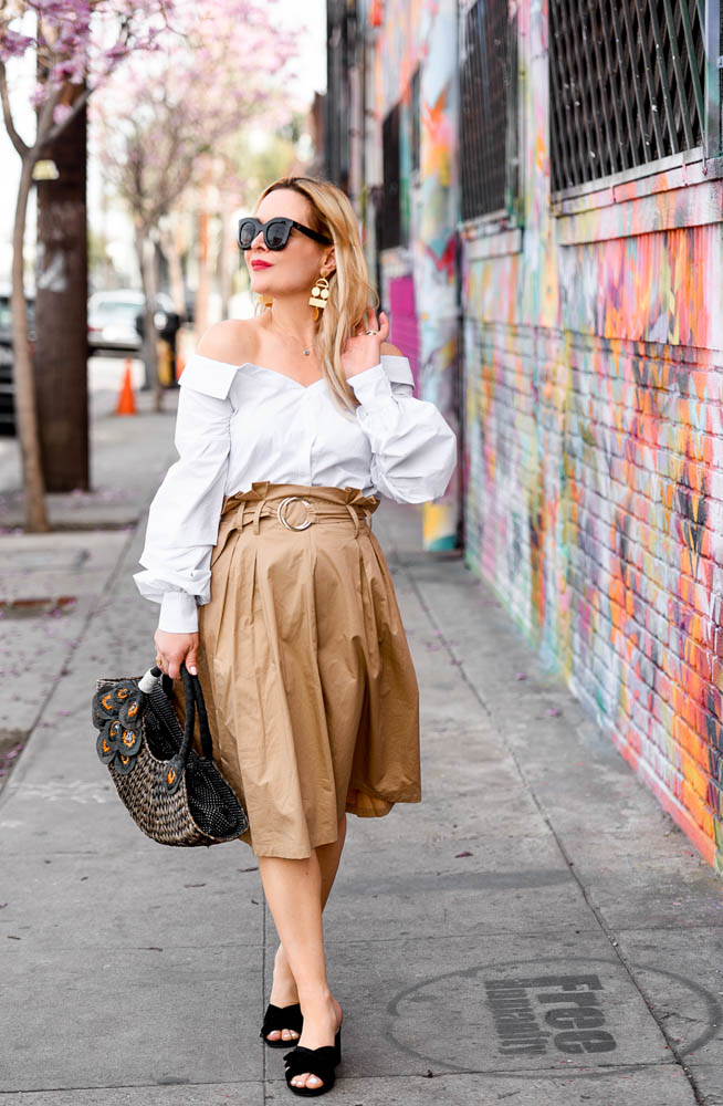 Khaki Skirt, Off Shoulder Top.