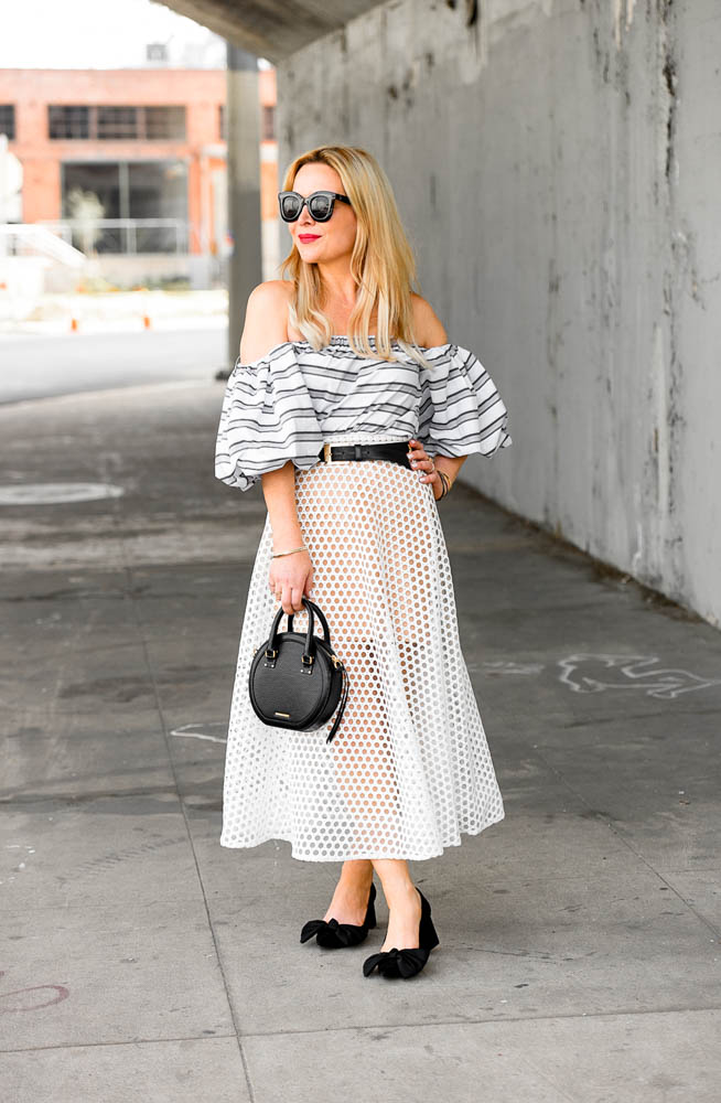 Maxi Skirt, Black & White Stripes.