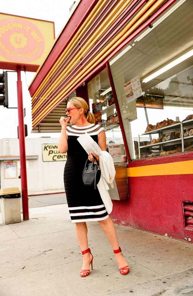 Black And White Dress, Red Shoes featured by popular, Los Angeles Fashion Blogger, The Hunter Collector