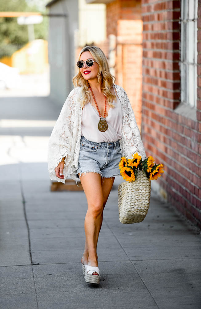 Lace Cardigan, Vintage Denim Shorts.