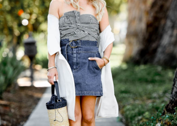 Gingham Top, Denim Skirt.