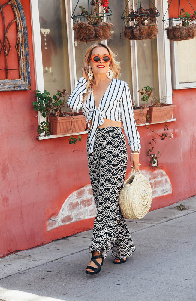 Lace Pants, Crop Top, Straw Bag featured by Popular Los Angeles Fashion Blogger, The Hunter Collector
