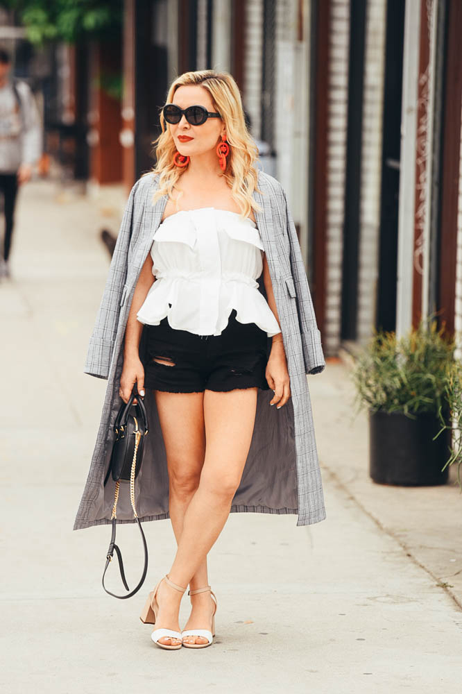 Plaid Trench Coat, Denim Shorts featured by popular Los Angeles fashion blogger, The Hunter Collector