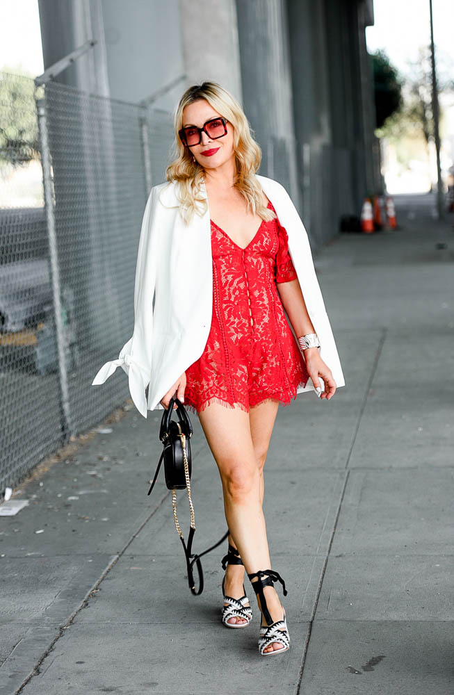 Red Lace Romper, White Blazer.