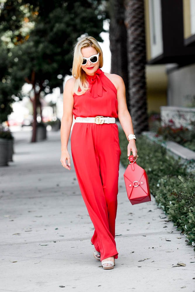 red jumpsuit - Red Jumpsuit, Chinese Take Out & My Man featured by popular Los Angeles fashion blogger, The Hunter Collector