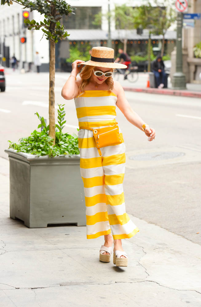 yellow striped jumpsuit - Yellow Striped Jumpsuit, Straw Hat featured by popular Los Angeles style blogger, The Hunter Collector