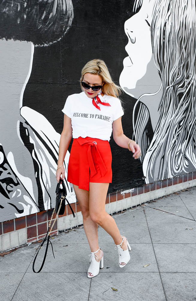 Red Mini Skirt, Paradise Tee featured by popular Los Angeles fashion blogger the hunter collector