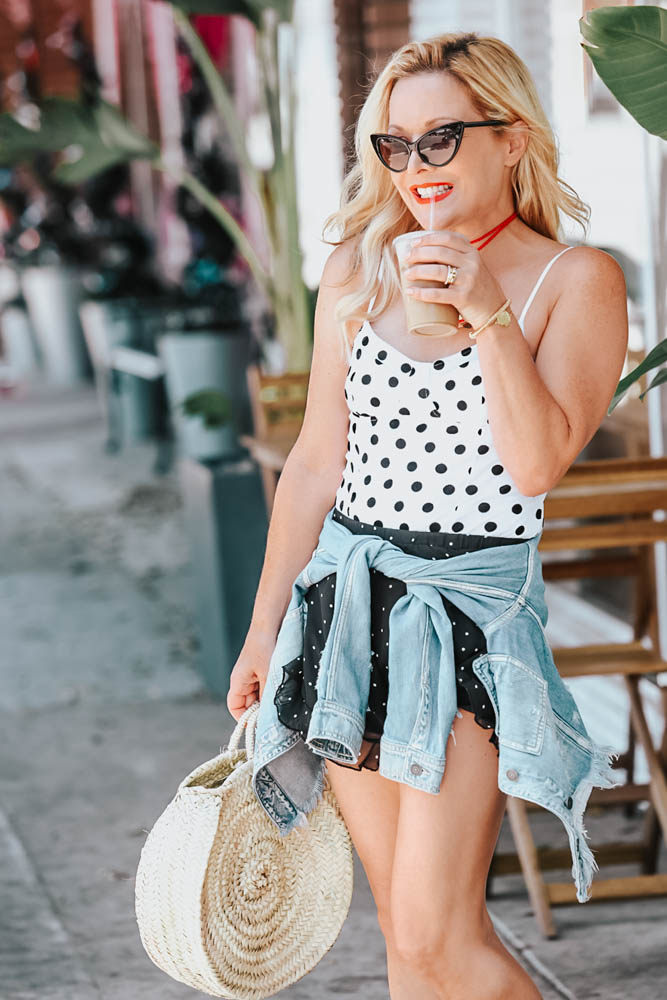 Polka Dots, Polka Dot Shorts & Denim featured by popular Los Angeles fashion blogger The Hunter Collector