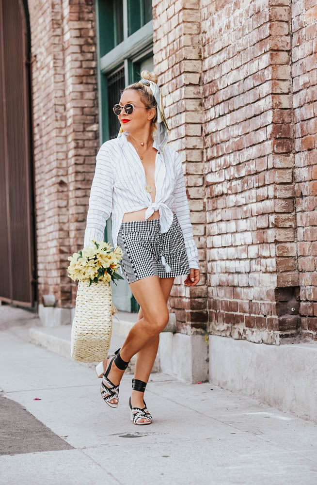 Gingham Shorts, White Shirt.