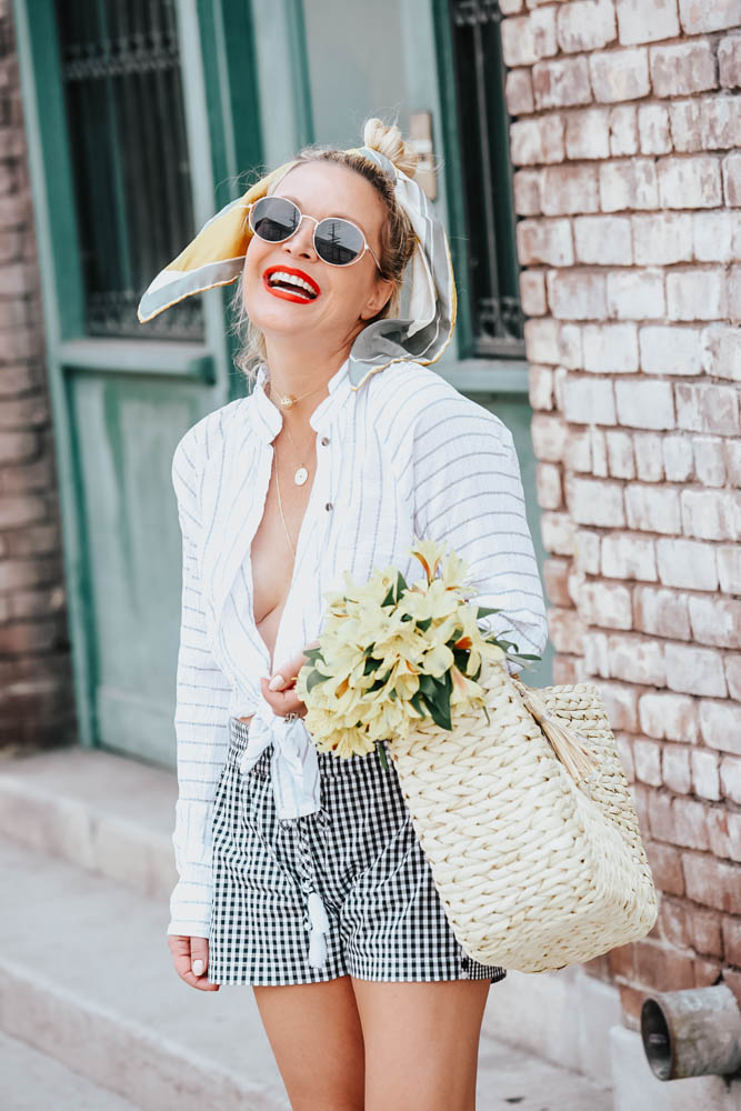Gingham Shorts, White Shirt featured by popular Los Angeles fashion blogger The Hunter Collector