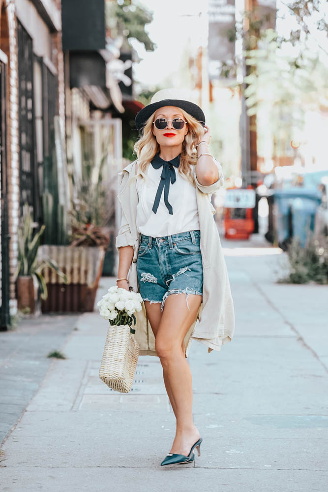 CeCe Blouse with Navy Bow, Trench Coat, Vintage Denim featured by popular Los Angeles fashion blogger The Hunter Collector