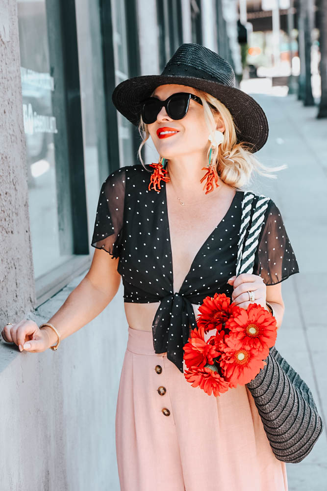 Pink Culottes, Polka Dot Crop Top. featured by popular Los Angeles fashion blogger, The Hunter Collector