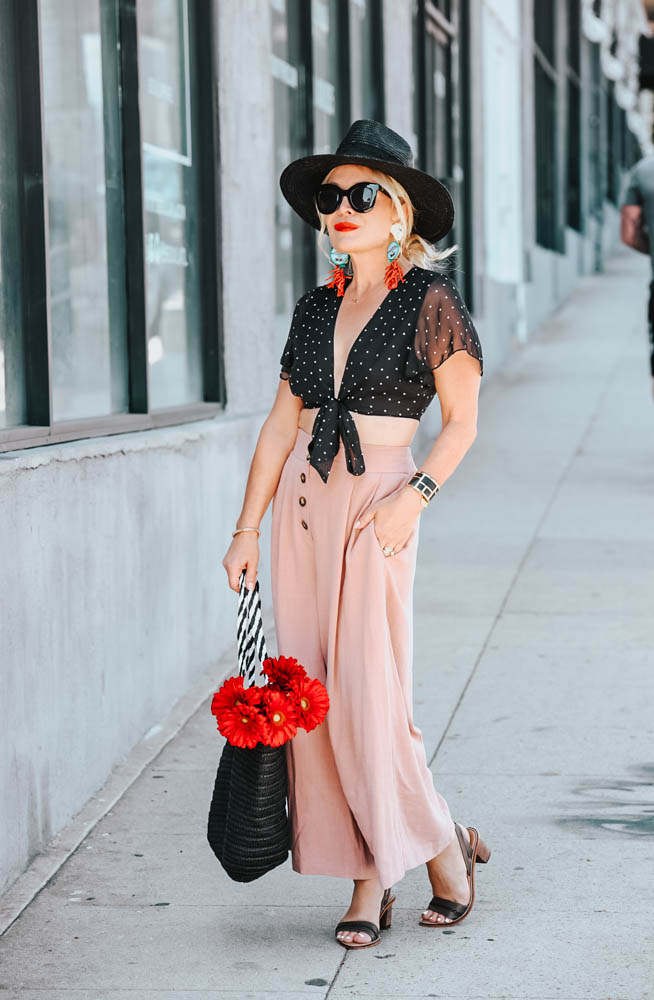 Pink Culottes, Polka Dot Crop Top.