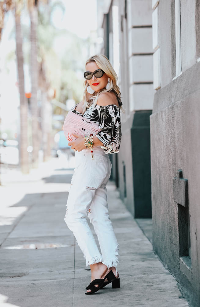 Tropical Print, White Denim Off the Shoulder Top featured by popular Los Angeles fashion blogger, The Hunter Collector