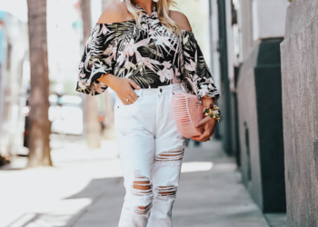 Tropical Print, White Denim Off the Shoulder Top
