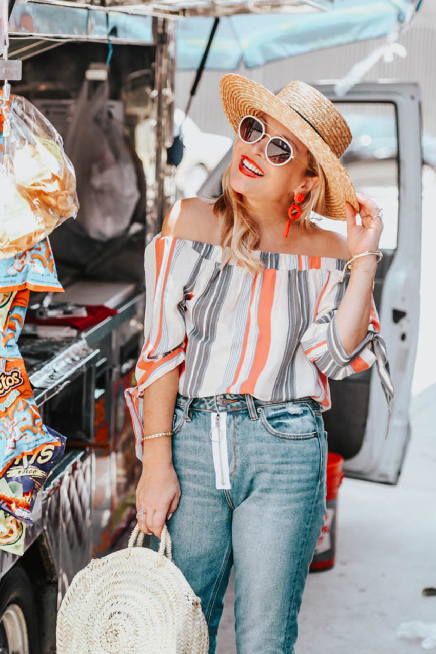 Striped Off The Shoulder Top, Straw & Zippered Denim featured by popular Los Angeles fashion blogger The Hunter Collector