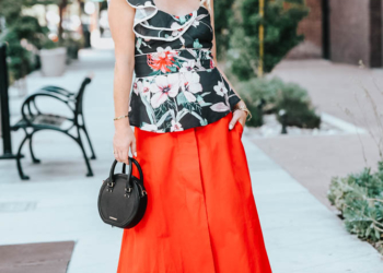 Floral Ruffle Top, Midi Skirt & Straw Hat.