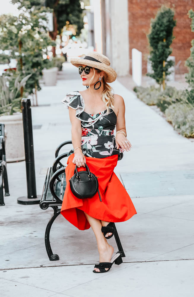 Floral Ruffle Top, Midi Skirt & Straw Hat featured by popular Los Angeles fashion blogger The Hunter Collector