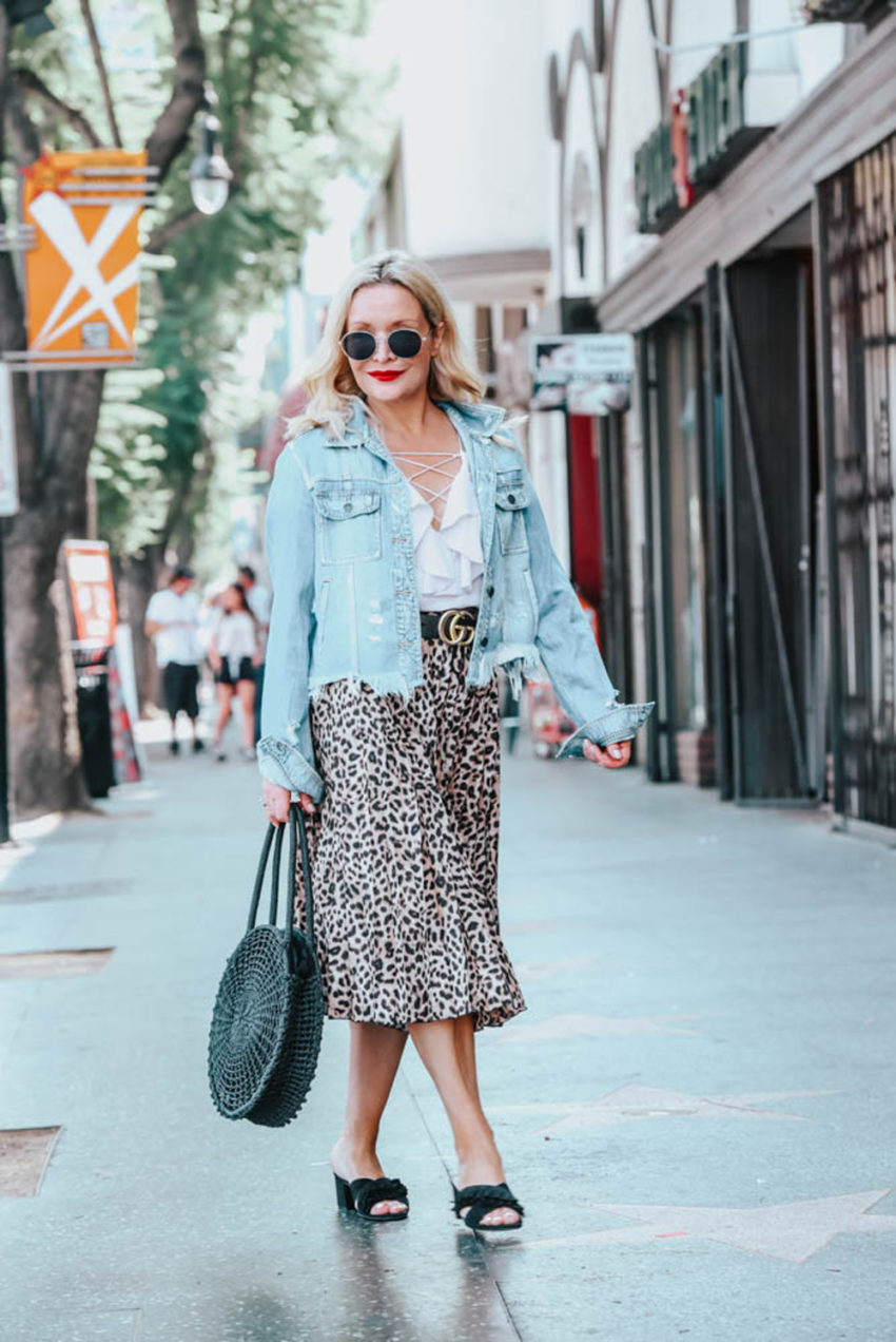 Zara | Nordstrom | Gucci | Leopard Print Skirt, Lace Up Camisole featured by popular Los Angeles fashion blogger The Hunter Collector