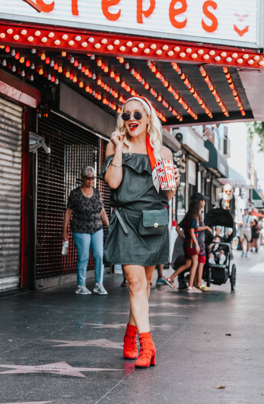 Pick & Pay | Red Booties, Grey Denim Dress featured by popular Los Angeles fashion blogger The Hunter Collector