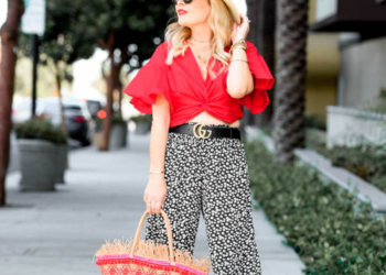 Red Crop Top, Wide Leg Pants.