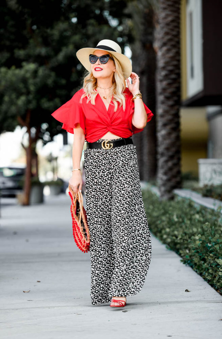 Red Crop Top, Wide Leg Pants featured by popular Los Angeles fashion blogger, The Hunter Collector