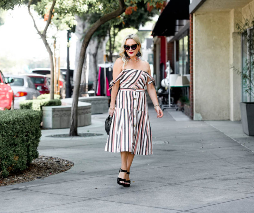 Off The Shoulder Striped Dress from Adelyn Rae, Statement Earrings featured by popular Los Angeles fashion blogger The Hunter Collector