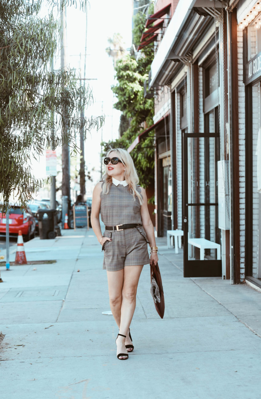 plaid short suit | Plaid Short Suit, Vegan Tote featured by popular Los Angeles fashion blogger The Hunter Collector