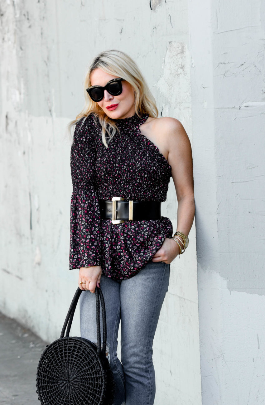 CECE BY CYNTHIA STEFFE | Floral One Shoulder Top, Distressed Denim featured by popular Los Angeles fashion blogger The Hunter Collector