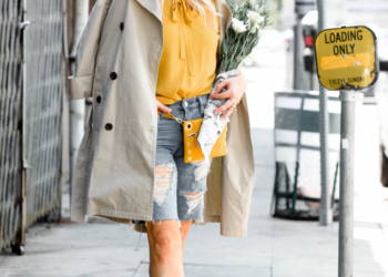 Mustard Top, Denim Bermuda Shorts.
