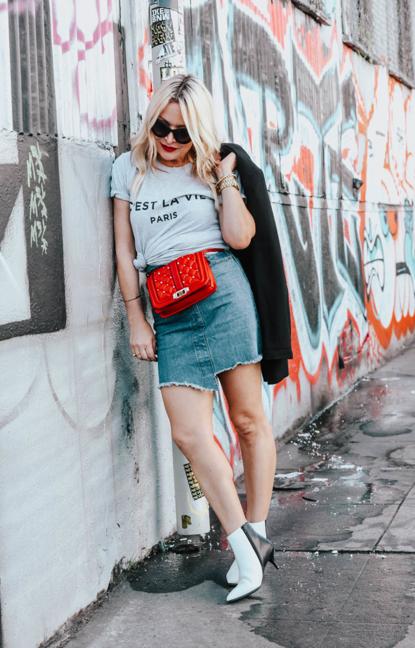 Paris Tee, Denim Skirt, Ankle Boots featured by popular Los Angeles fashion blogger The Hunter Collector