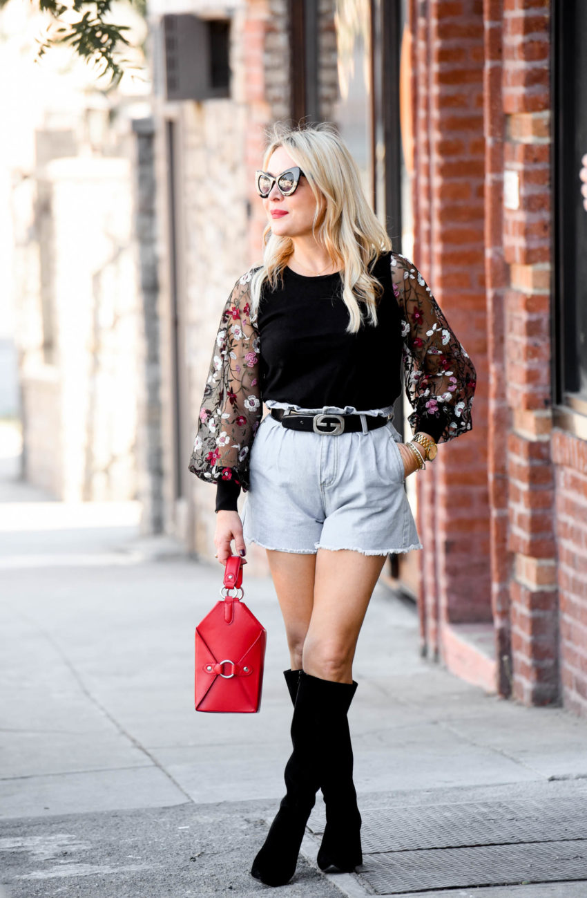 CeCe by Cynthia Steffe's fall line | Floral Sheer Sleeve Top, Knee High Boots featured by top Los Angeles fashion blog The Hunter Collector