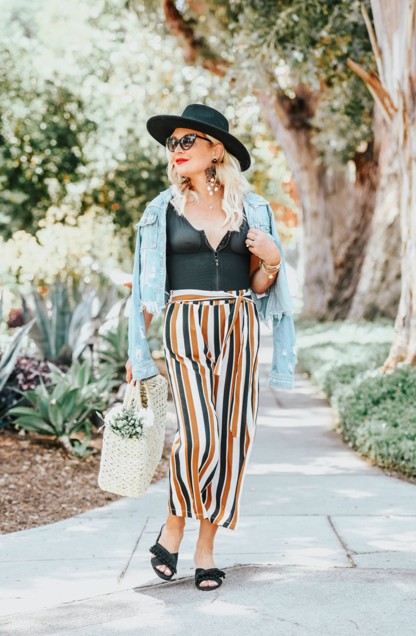 Scandal | Hidden Jeans | Striped Pants, Western Hat, Denim. featured by popular Los Angeles fashion blogger The Hunter Collector