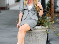 grey skirt suit