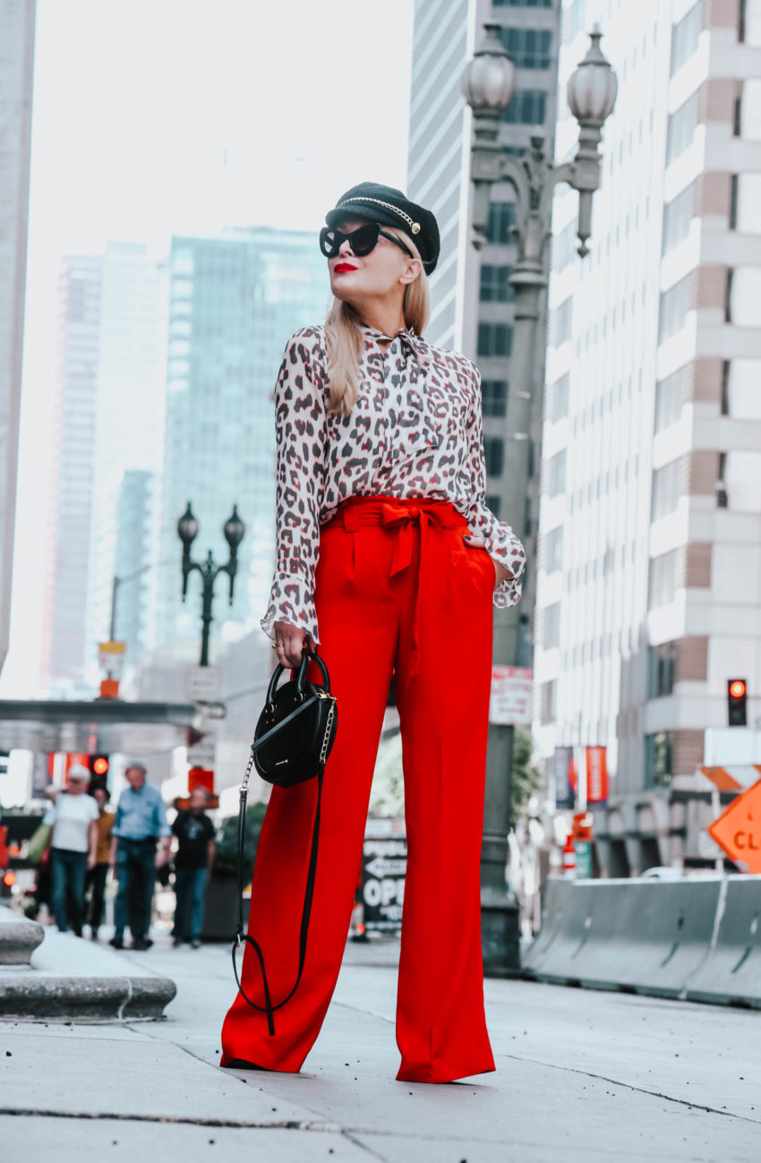Red Wide Leg Pants, Silk Leopard Print.