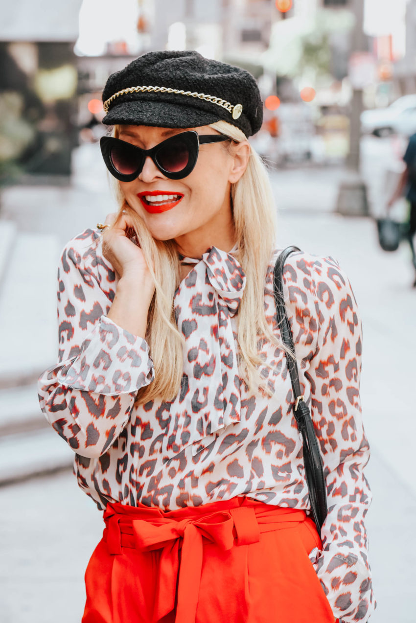 Express | Lilysilk | Red Wide Leg Pants, Silk Leopard Print featured by top Los Angeles fashion blog The Hunter Collector
